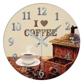 Relógio Grande Moedor de café com os feijões de café do amor de I