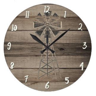 Relógio Grande Moinho de vento de madeira resistido rústico do