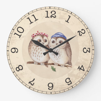 Relógio Grande Monograma das corujas da aguarela do vintage