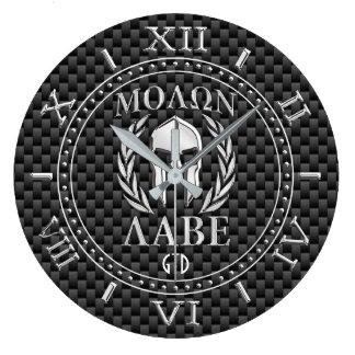 Relógio Grande Monograma espartano da armadura do estilo do cromo