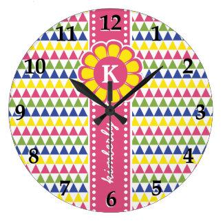 Relógio Grande Monograma geométrico colorido da fita da flor da