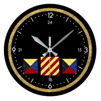 Relógio Grande Monograma marítimo náutico da bandeira de sinal da
