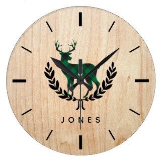 Relógio Grande Monograma verde do veado da xadrez do búfalo