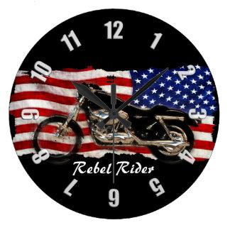Relógio Grande Motocicleta & de bandeira dos E.U. design