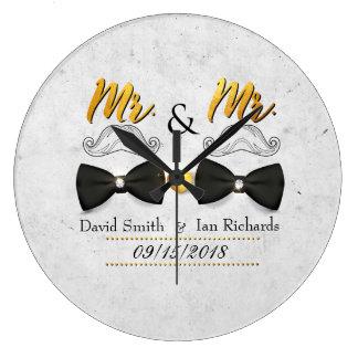 Relógio Grande Moustache e arco para o Sr. e o Sr.
