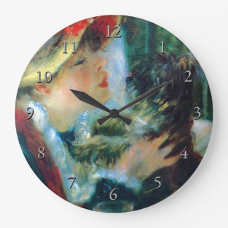 Relógio Grande Mulher com suas belas artes de Renoir do cão