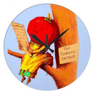 Relógio Grande Mulher de comércio da cabeça do tomate do cartão