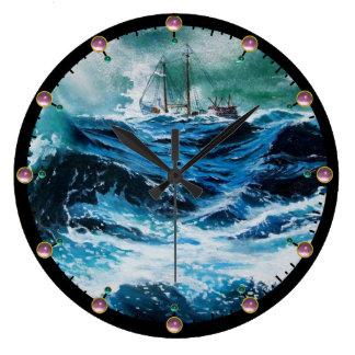 Relógio Grande Navio no mar na tempestade