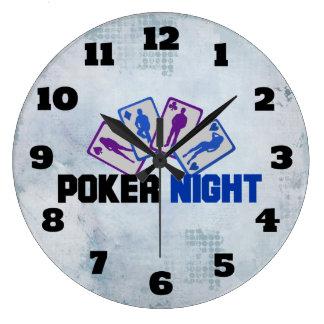 Relógio Grande Noite do póquer com o cartão de jogo em azul e em