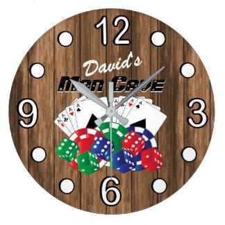 Relógio Grande Noite do póquer na caverna do homem na madeira