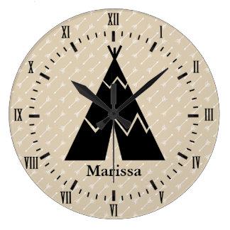 Relógio Grande Nome branco dos numerais romanos das setas do xixi