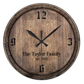 Relógio Grande Nome de família de madeira da cabeça do tambor do