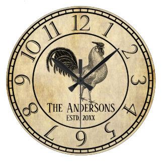 Relógio Grande Nome de família rústico do galo do estilo do