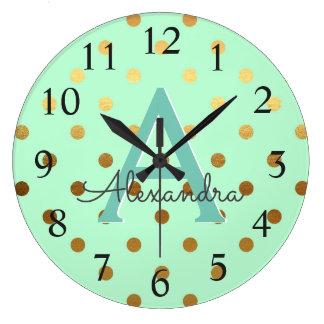 Relógio Grande Nome do monograma das bolinhas da folha da hortelã
