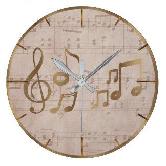 Relógio Grande Notas chaves da música do solenóide da folha de