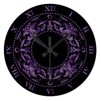 Relógio Grande Numerais filigranas & romanos Amethyst