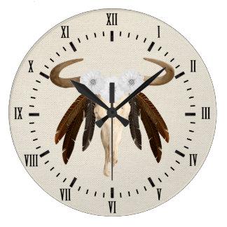 Relógio Grande Numerais romanos do crânio floral ocidental da