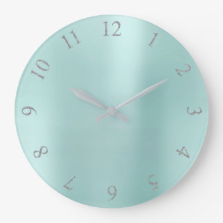 Relógio Grande Números cinzentos dos E.U. Reino Unido da prata de