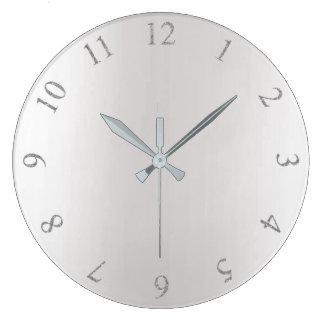 Relógio Grande Números cinzentos dos E.U. Reino Unido da prata do