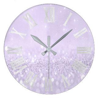 Relógio Grande Números romanos cinzentos do brilho violeta da