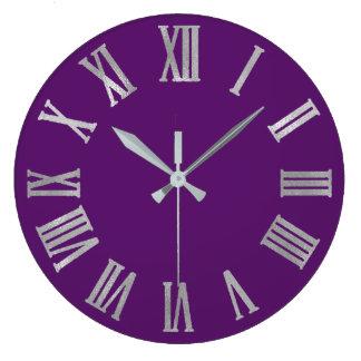 Relógio Grande Números romanos de prata metálicos violetas do