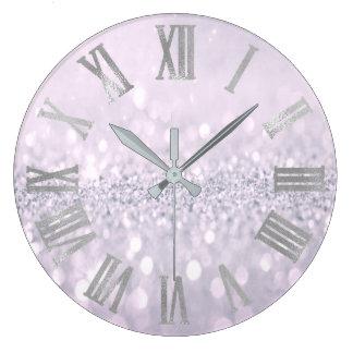 Relógio Grande Números romanos do metal cinzento Amethyst do