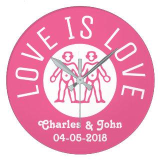 Relógio Grande O amor é rosa do casal do orgulho gay LGBT da