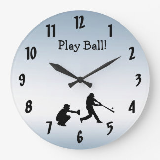 Relógio Grande O basebol azul legal da bola do jogo ostenta o