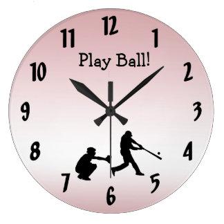 Relógio Grande O basebol cor-de-rosa feminino doce da bola do