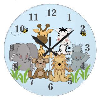 Relógio Grande O berçário do bebê dos animais da selva do safari