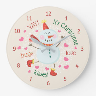 Relógio Grande O boneco de neve do Natal abraça beijos do amor