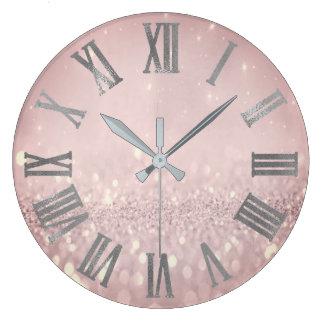 Relógio Grande O brilho roxo de Lavande cora Numers romano
