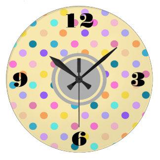 Relógio Grande O confete das bolinhas colore o pulso de disparo