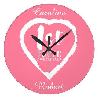 Relógio Grande ø coração do aniversário de casamento de papel