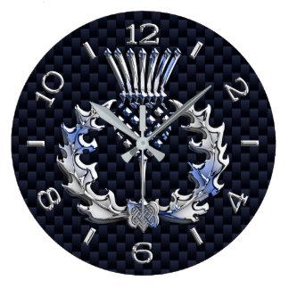 Relógio Grande O cromo gosta do seletor azul do cardo escocês em