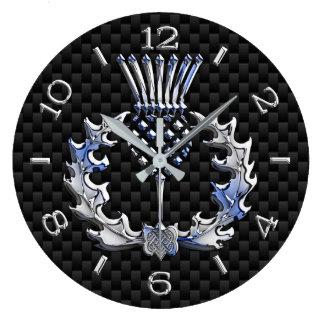 Relógio Grande O cromo gosta do seletor escocês do preto do cardo