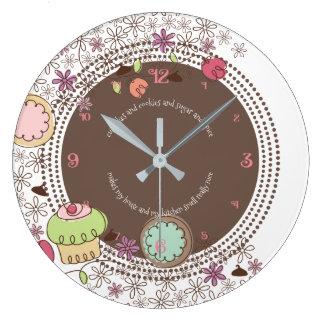Relógio Grande O cupcake dos biscoitos do Doodle floresce o pulso