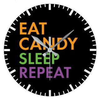 Relógio Grande O Dia das Bruxas - coma doces, dormem, repetem -