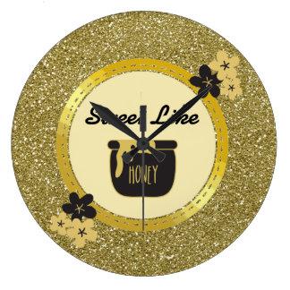 Relógio Grande O doce do brilho do ouro do falso gosta do mel