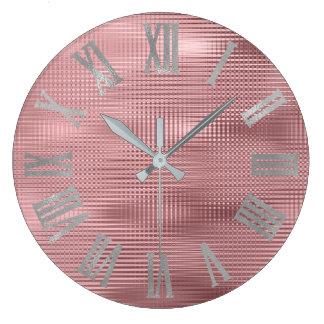 Relógio Grande O feijão do rosa das cinzas de prata alinha Numers