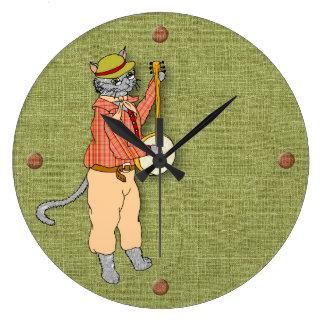 Relógio Grande O gato musical do banjo mantem o bom tempo
