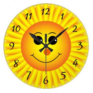Relógio Grande O girassol Emoji enfrenta