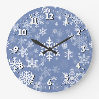 Relógio Grande O gráfico dos flocos de neve personaliza o fundo