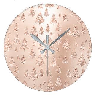 Relógio Grande O ouro do rosa do rosa das árvores de Natal cora