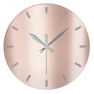 Relógio Grande O ouro mínimo do rosa do rosa metálico cora cinzas