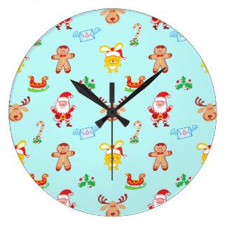 Relógio Grande O papai noel, a rena, o coelho e o biscoito