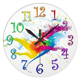 Relógio Grande O pulso de disparo redondo espirra da pintura e de