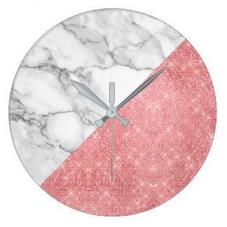 Relógio Grande O rosa do rosa cora o diamante cinzento de mármore