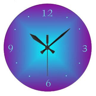 Relógio Grande O roxo/Aqua iluminado imprimiu o pulso de disparo