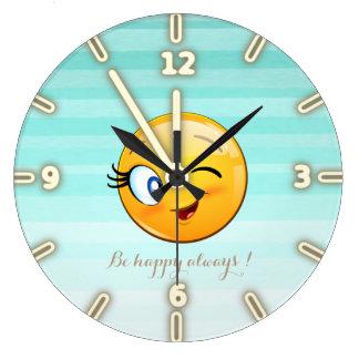 Relógio Grande O smiley pisc adorável Emoji Cara-Está feliz
